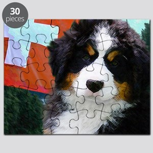 Swiss Bernese Puppy WIne Label Puzzle