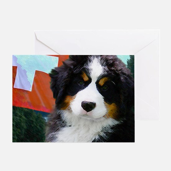 Swiss Bernese Puppy WIne Label Greeting Card