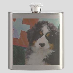 Swiss Bernese Puppy WIne Label Flask