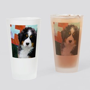 Swiss Bernese Puppy WIne Label Drinking Glass