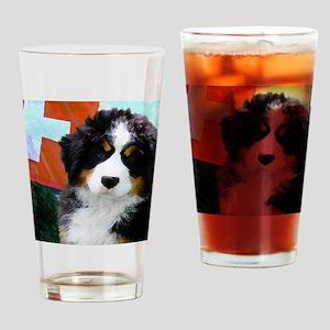 Swiss Bernese Puppy WIne Label Drinking Glass