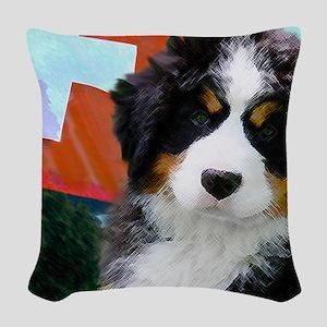 Swiss Bernese Puppy WIne Label Woven Throw Pillow