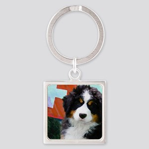 Swiss Bernese Puppy WIne Label Square Keychain
