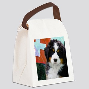 Swiss Bernese Puppy WIne Label Canvas Lunch Bag