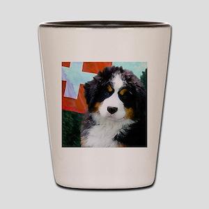 Swiss Berner Puppy clock Shot Glass