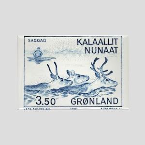 1981 Greenland Wild Reindeer Post Rectangle Magnet