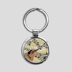 Abstract Guitar Round Keychain