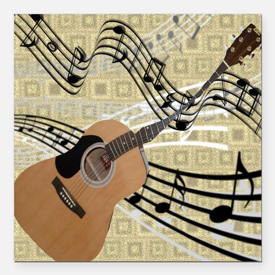 """Abstract Guitar Square Car Magnet 3"""" x 3"""""""