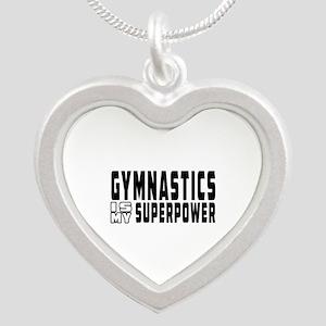 Gymnastics Is My Superpower Silver Heart Necklace