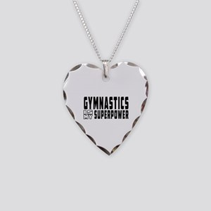 Gymnastics Is My Superpower Necklace Heart Charm