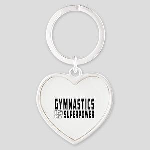 Gymnastics Is My Superpower Heart Keychain
