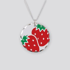 Sweet Strawberries Necklace Circle Charm