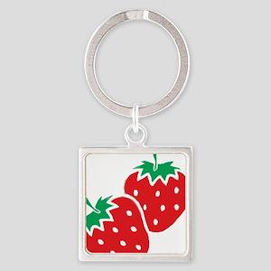 Sweet Strawberries Square Keychain