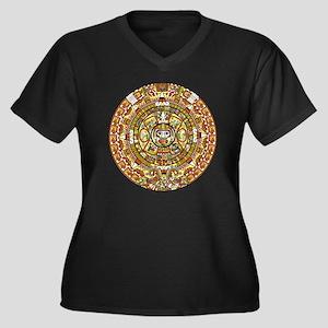 mayan calend Women's Plus Size Dark V-Neck T-Shirt