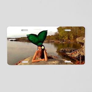 Mermaid Sunning Aluminum License Plate