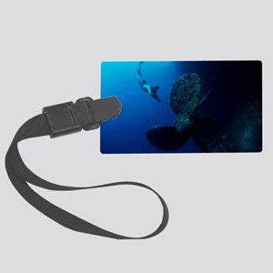 Diver by shipwreck's propeller Large Luggage Tag