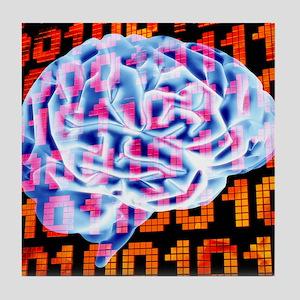 Digital brain Tile Coaster