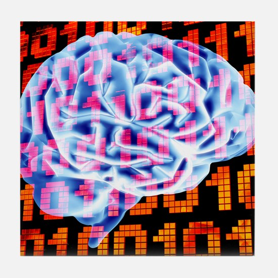 Digital brain Tile Coaster