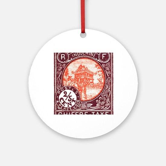 Indochina 1927 One Pillar Pagoda Po Round Ornament