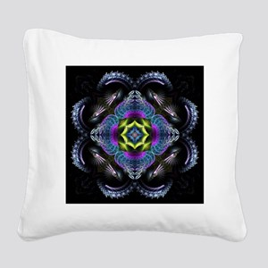 Dark Leather Fractals Square Canvas Pillow