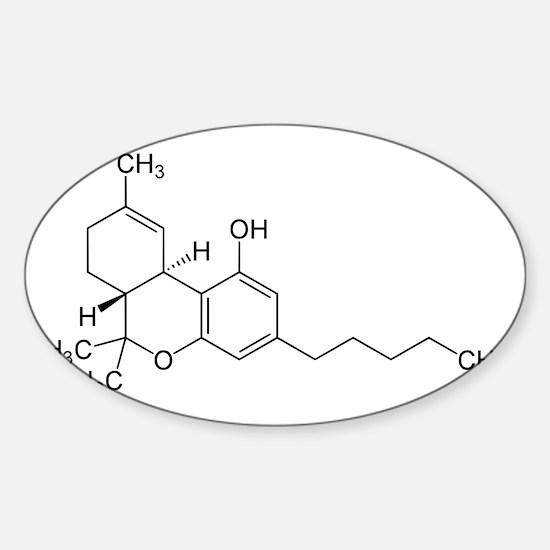 THC Symbol (Tetrahydrocannabinol) Sticker (Oval)