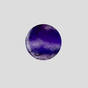 Purple Full Moon  Bats Night Mini Button