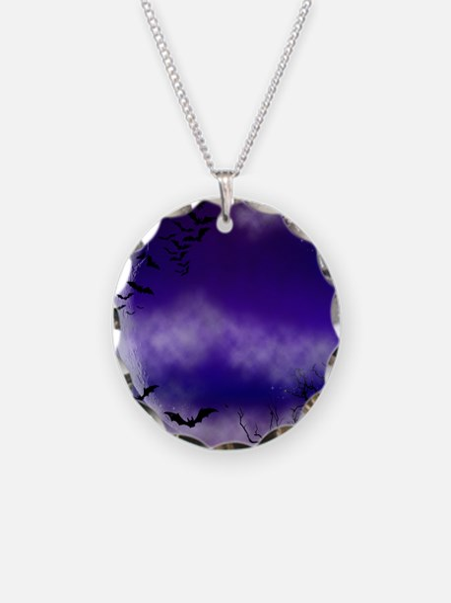 Purple Full Moon  Bats Night Necklace