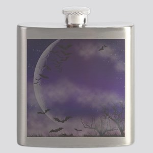 Purple Full Moon  Bats Night Flask
