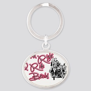 Riding Bitch Oval Keychain