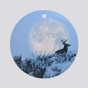 Mule deer moon Round Ornament