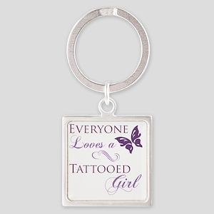 Tattooed Girl Square Keychain