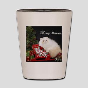 Himalayan Cat Christmas Card Shot Glass
