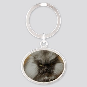 Colonel Meow scowl face Oval Keychain