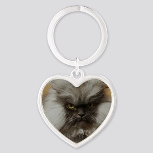 Colonel Meow scowl face Heart Keychain