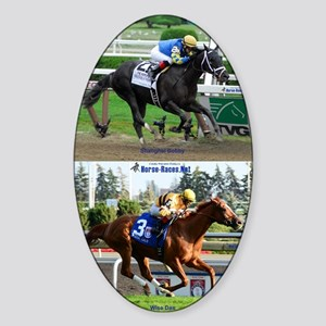 Horse Racing Notebook Sticker (Oval)