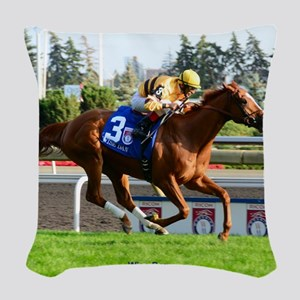 Horse Racing Clock Woven Throw Pillow