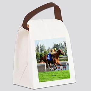 Horse Racing Clock Canvas Lunch Bag