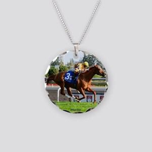 Horse Racing Clock Necklace Circle Charm