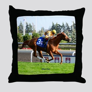 Horse Racing Clock Throw Pillow