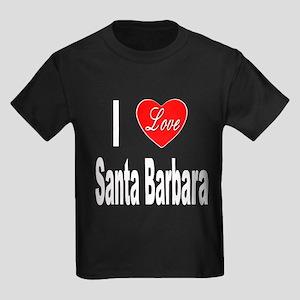 I Love Santa Barbara (Front) Kids Dark T-Shirt