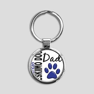 D American Eskimo Dog Dad 2 Round Keychain