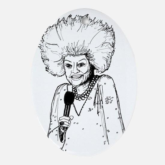 Phyllis Diller Illustration Oval Ornament