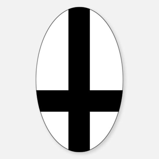 Upside Down Cross Sticker (Oval)