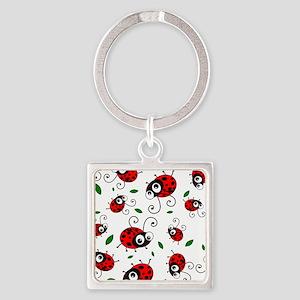 Cute Ladybug pattern Square Keychain