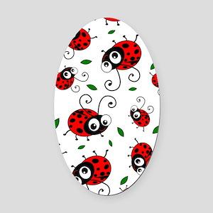Cute Ladybug pattern Oval Car Magnet