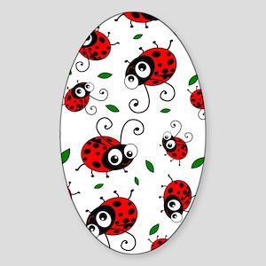 Cute Ladybug pattern Sticker (Oval)