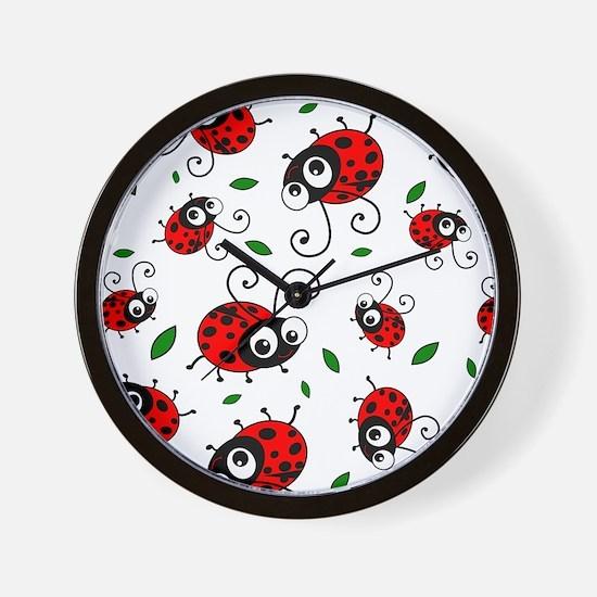 Cute Ladybug pattern Wall Clock