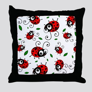 Cute Ladybug pattern Throw Pillow