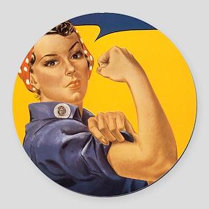 Rosie The Riverter Round Car Magnet