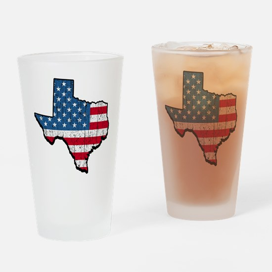 Texas USA American Flag Drinking Glass